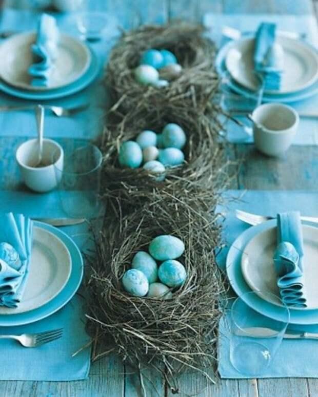 гнезда с яйцами на столе