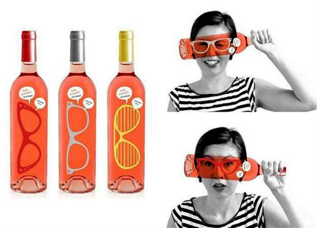 Оригинальный дизайн винной бутылки.
