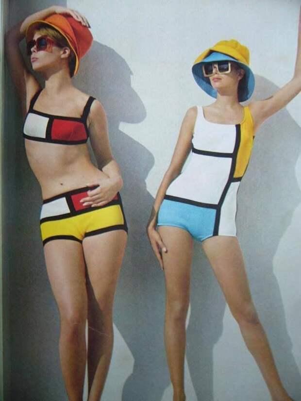 Пляжная мода, вдохновленная картинами Пита Мондриана. Журнал «Бурда». Лето 1966 г.jpg