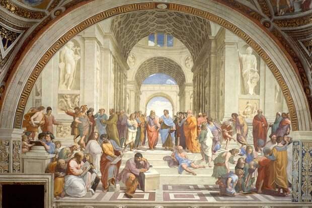 Фреска с «автографом современников» называется «Афинская школа» и считается величайшим творением той эпохи