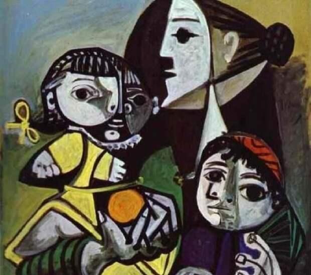 Франсуаза с детьми в исполнении Пикассо