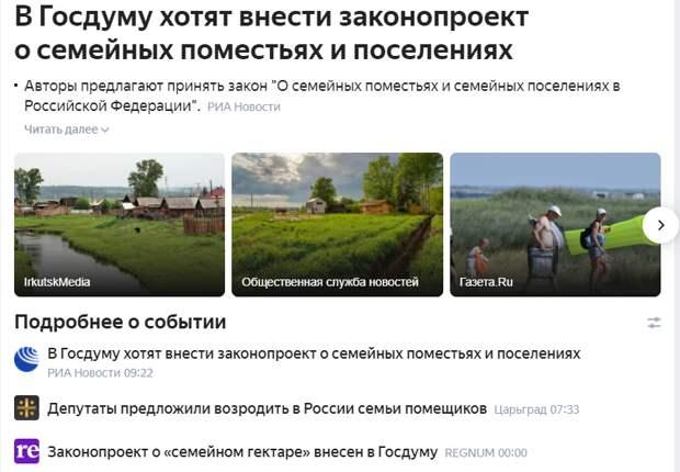 Семейных россиян предложили сделать помещиками