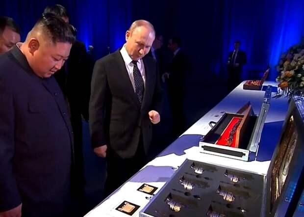 Ким Чен Ын получил в подарок от Путина набор стаканов с подстаканниками