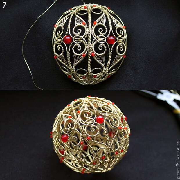 Делаем оригинальный елочный шар из проволоки