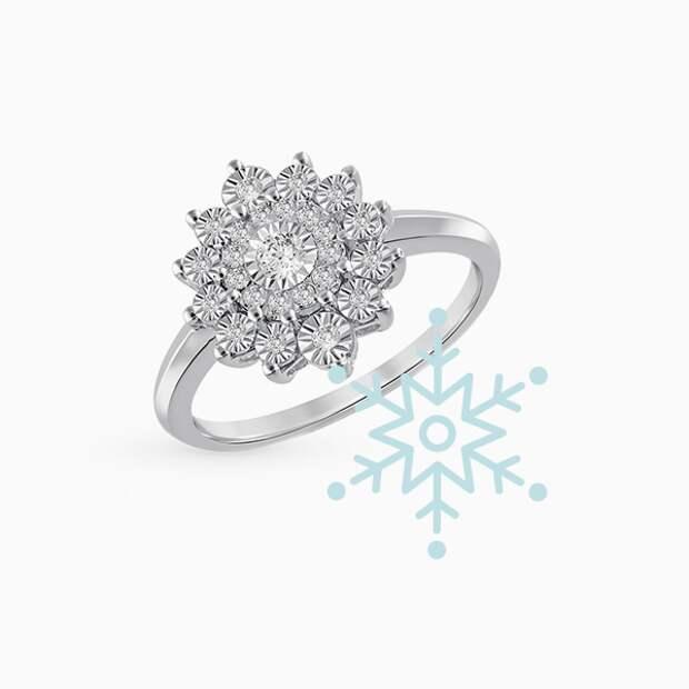 Кольцо SL, белое золото, бриллианты