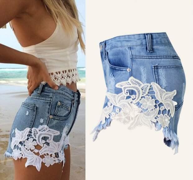 джинсовые шорты с кружевом
