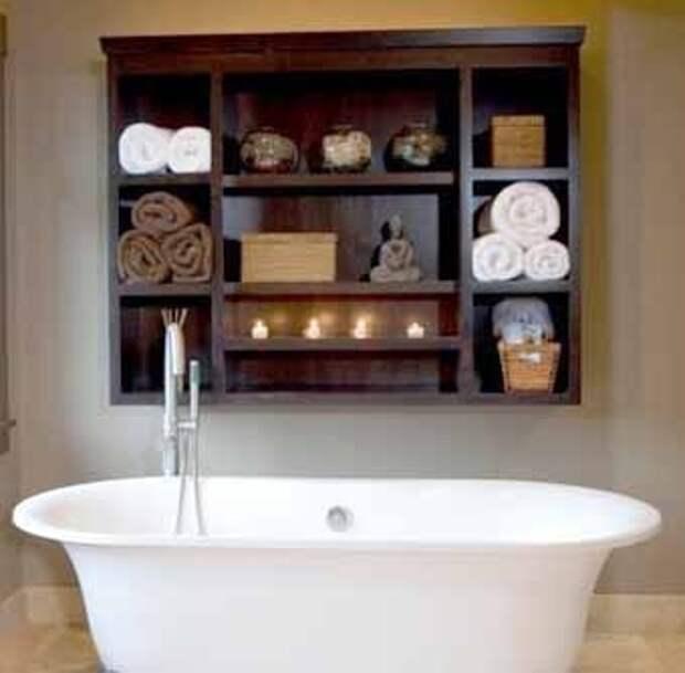 шкафчик для полотенец над ванной