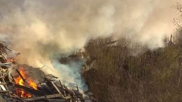 Пожарные потушили крупное возгорание мусора на севере Москвы