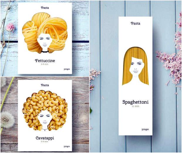 Оригинальный дизайн упаковок разных видов пасты.