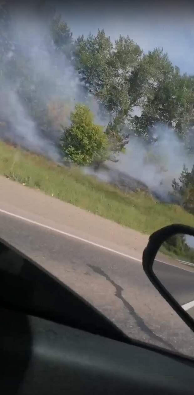 На Нылгинском тракте в Удмуртии загорелась трава