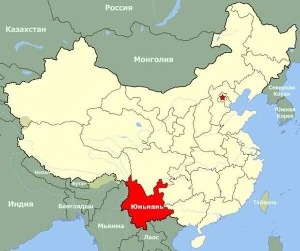 Провинция Юньнань на карте Китая