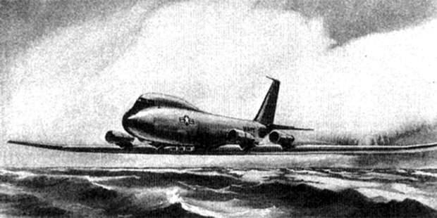 Проект противолодочного экранолёта LOBOY, разработанного вBoeing в1963–1964 годах. Большую часть времени он должен был летать какобычный самолёт, аэкранный эффект использовать вмомент погони залодкой, сокращая тем самым расход топлива