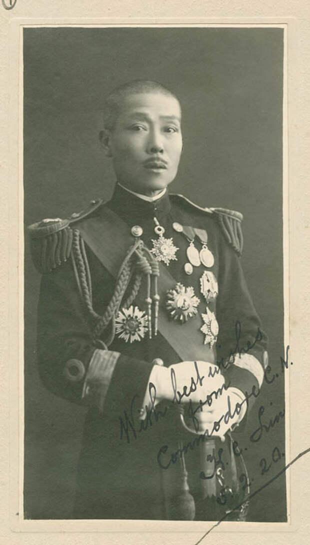 Портрет с дарственной надписью Эйхельбергеру, китайский офицер. Снято 5 февраля 1920 года.