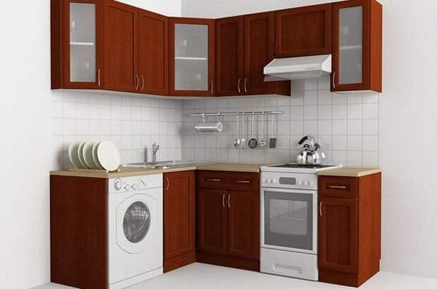 Небольшая кухня со стиральной машинкой
