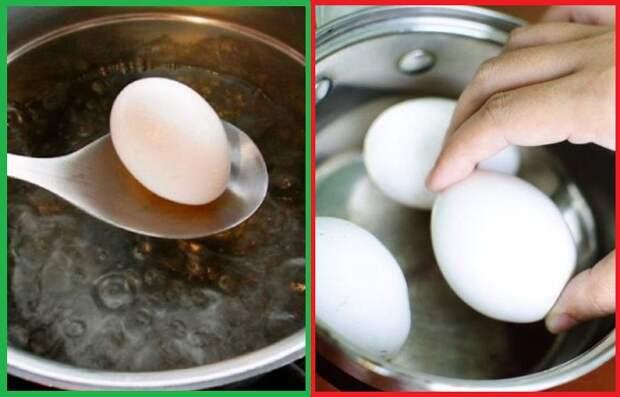 Яйца нужно класть не в холодную воду, а в кипяток
