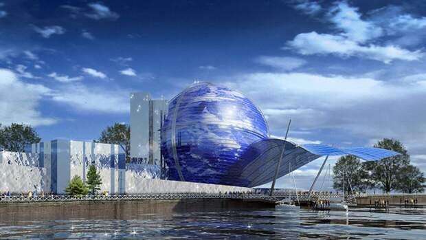 Флаг советской армии водрузили на корпус-шар Музея Мирового океана в Калининграде