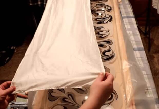 Мраморные, очень необычные шелковые шарфы в технике Ebru