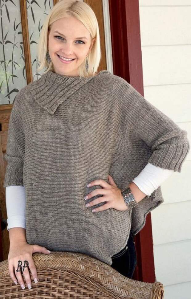 Описание вязания свитера и пончо с рукавами