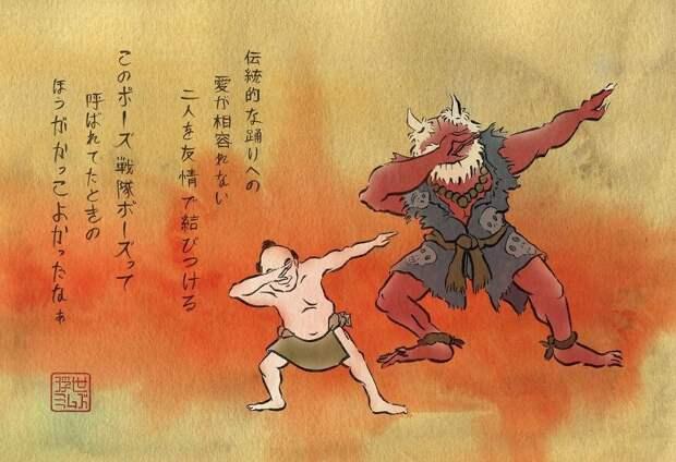 Художник воссоздает любимые мемы встиле японских гравюр