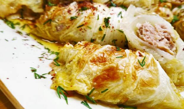 Голубцы из пекинской капусты с хрустящей корочкой. Нежное блюдо с сочной начинкой