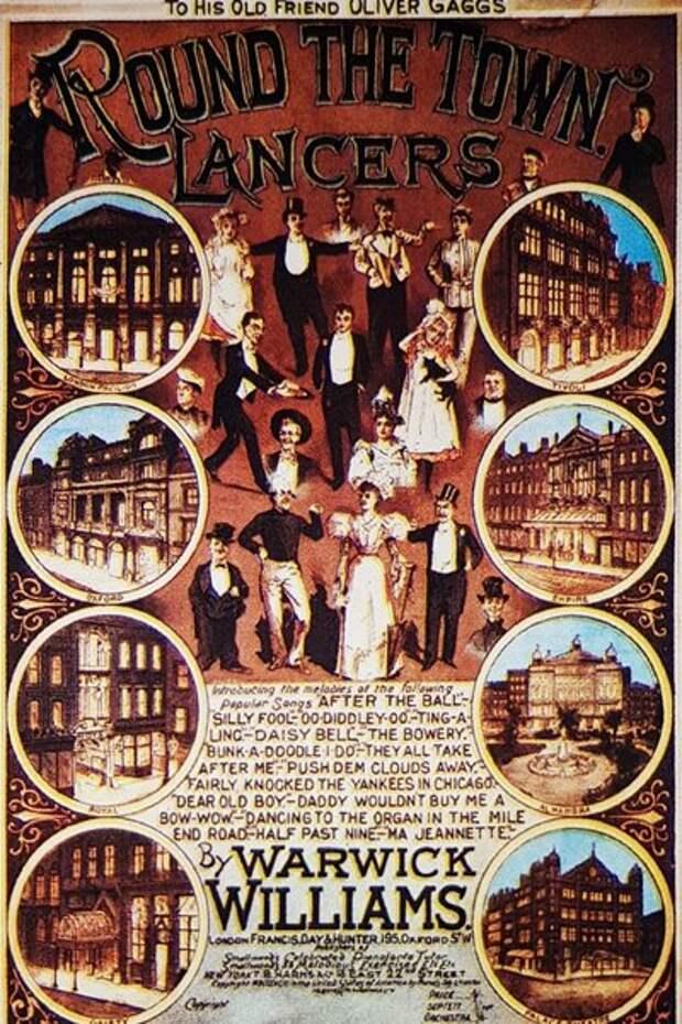 Обложку этого сборника песен украшают знаменитые лондонские мюзик-холлы 19 века.