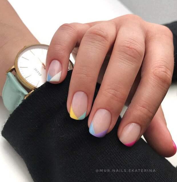 разноцветный френч фото 28