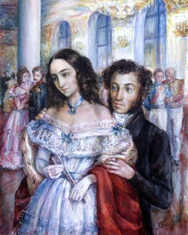 Наталья и Александр Пушкины на балу./Фото: i.pinimg.com