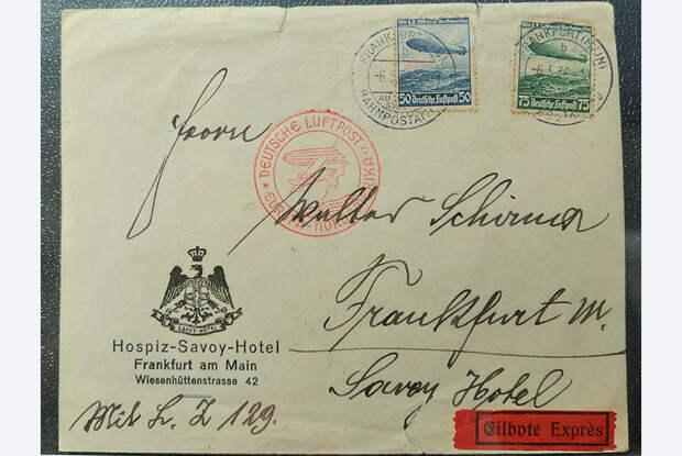 В 1930-е годы германские дирижабли совершали регулярные пассажирские рейсы в Южную и Северную Америку. Конверт письма, отправленного на дирижабле Hindenburg (LZ-129) из Франкфурта в США 6 мая 1936 года, ровно день в день за год до его трагической гибели 6 мая 1937 года. Удивительное совпадение!