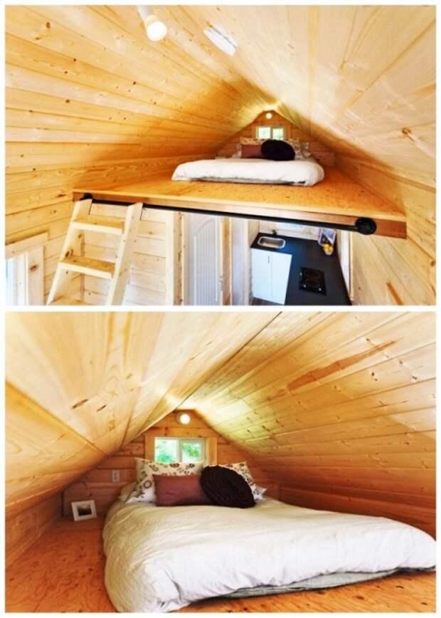 Зона сна в эко-коттедже на колесах, созданном компанией Mint Tiny Homes («Poco Pink», Канада). | Фото: tinyhousetalk.com.