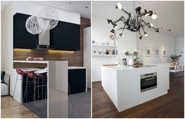 Светильники, которые являются акцентами в интерьере маленькой кухни.
