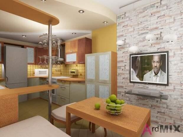 Современный дизайн кухни с барной стойкой от компании «Ардмикс»
