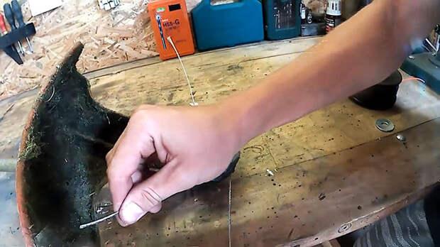 Как заменить леску в триммере стальным тросом