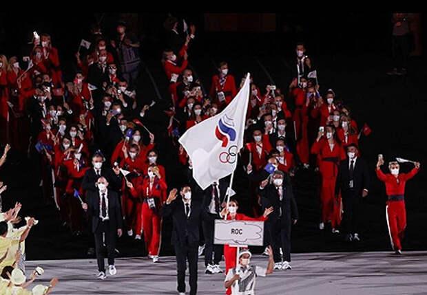 сборная России на церемонии открытия Олимпиады-2020 в Токио
