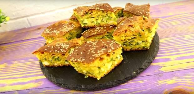 Вместо пирожков. Ленивый заливной пирог с зеленым луком и яйцом