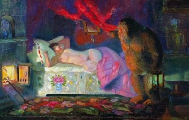 Б. Кустодиев. Купчиха и домовой, 1922 | Фото: allpainters.ru
