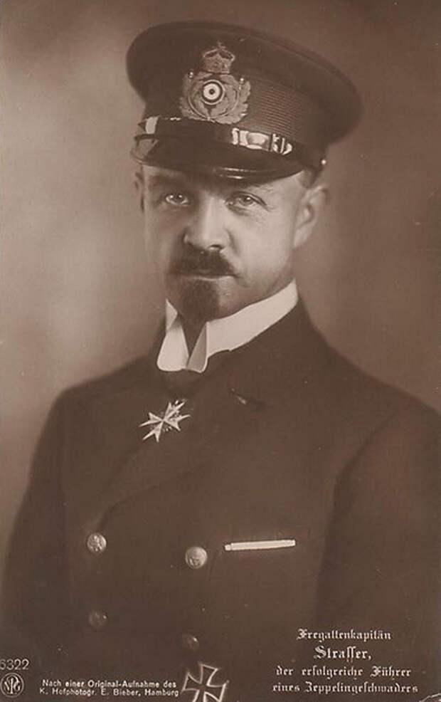 Командир Дивизиона воздушных кораблей военно-морского флота Германии «сумасшедший лейтенант» Петер Штрассер. Немецкая открытка 1916 года