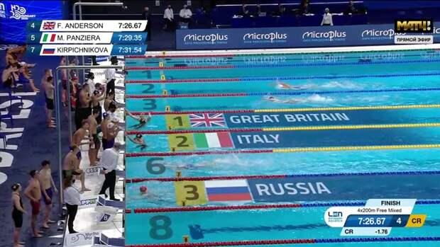 Сборная России взяла бронзу всмешанной эстафете 4x200 мвольным стилем начемпионате Европы