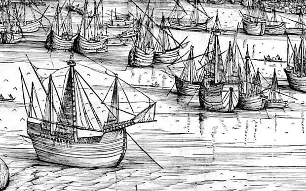 Транспортные нефы в гавани Венеции в 1500 году. Фрагмент рисунка Джакопо де Барбари - Превеза: сборы, споры, штурм, разведка   Военно-исторический портал Warspot.ru