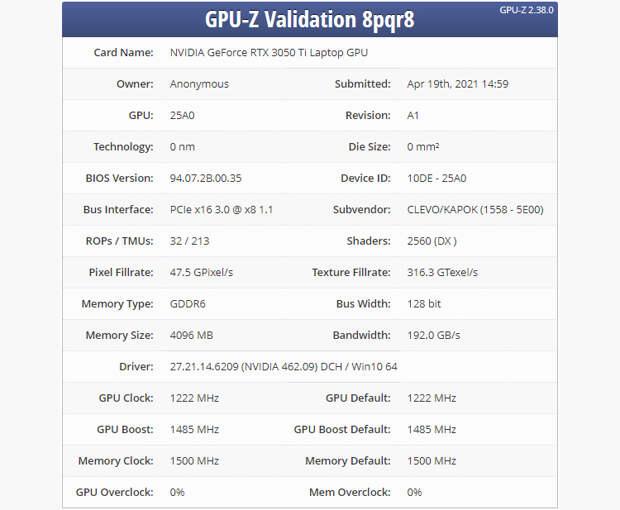 Раскрыты характеристики мобильной видеокарты NVIDIA GeForce RTX 3050 Ti — анонс ожидается в этом месяце