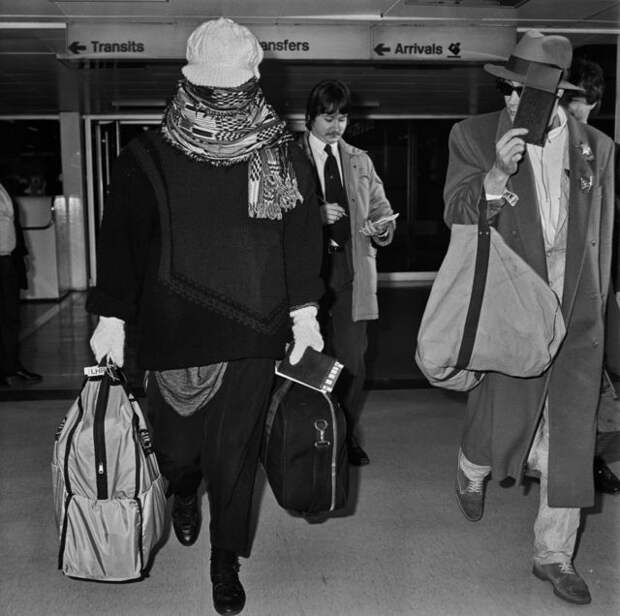 Boy George arrives at Heathrow airport in 1985