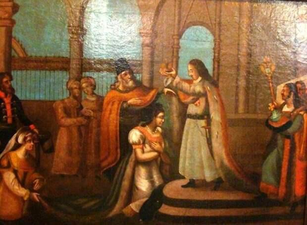Петр I коронует Екатерину. Неизвестный художник