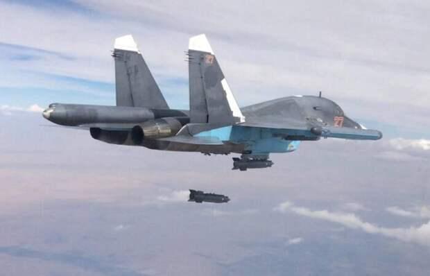 Минобороны РФ показало разрушительные последствия авиаудара истребителя Су-34