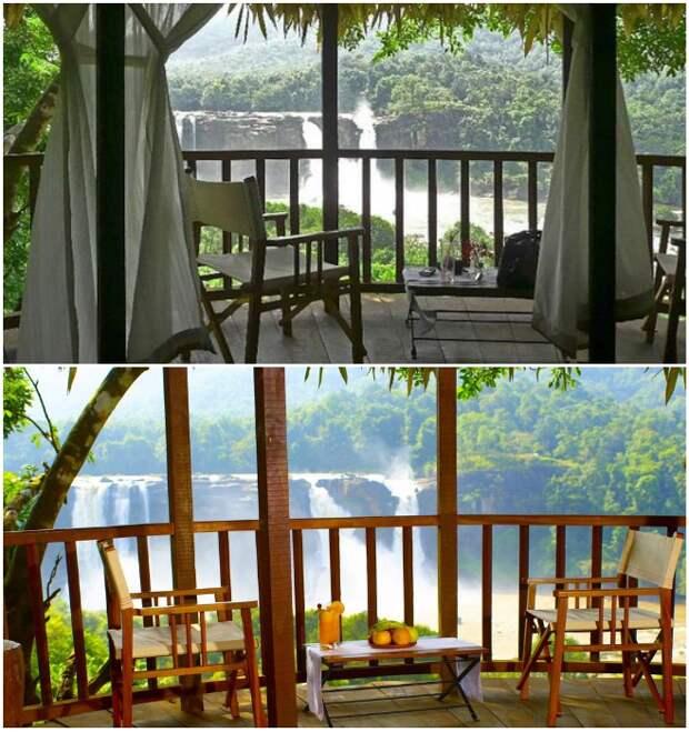 С открытой террасы открывается умопомрачительный вид на водопад и окрестности (Rainforest, Индия).   Фото: rainforest-boutique-resort.kerala-hotels.