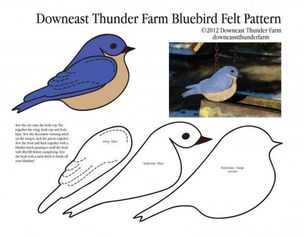 Великолепные фетровые птички с выкройками от Сьюзен