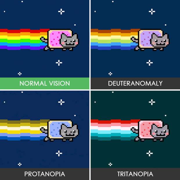 6. Nyan Cat дальтонизм, люди, мир