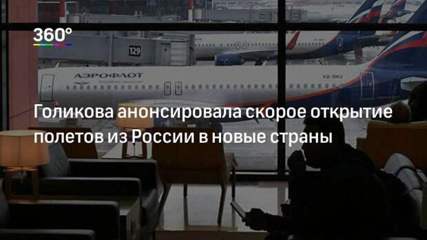 Голикова анонсировала скорое открытие полетов из России в новые страны