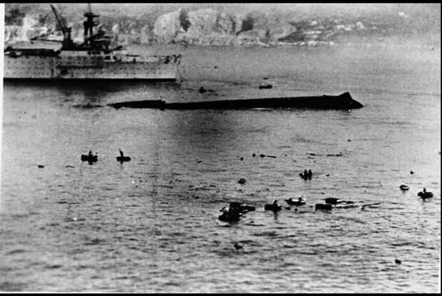 Спасательные работы на месте гибели «Bretagne»