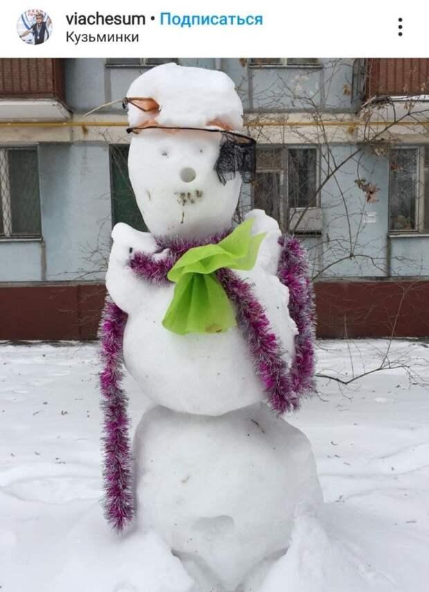 Фото дня: снеговики в Кузьминках бывают разные