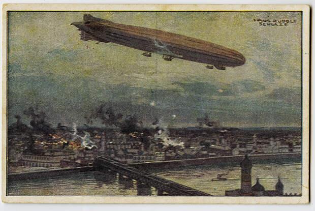 Германский цеппелин над Варшавой. Немецкая открытка выпуска 1915-1916 годов