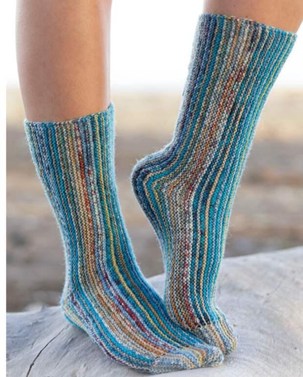 Носки с продольными полосками diy
